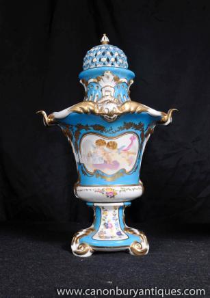 Deutsch Meissener Porzellan-Engel-Pair Potpourri Urnen Vasen