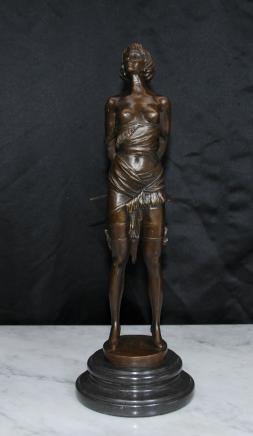 Domina Erotische Bronze Figur Statue von Bruno Zach Fräulein Whiplash