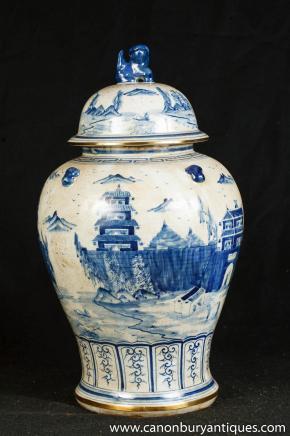 Einzel Nanking Keramik Ingwer-Glas Blau Weiß Chinesisches Porzellan Vase
