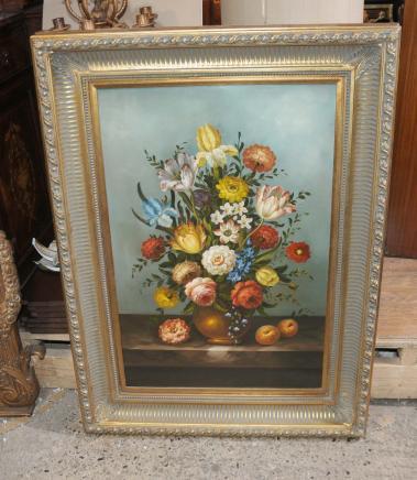 Englisch-Ölgemälde Blumen-Stillleben Kunst-Farben Gilt Frame