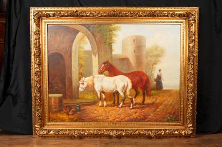 Englisch-Ölgemälde Pferde Pferd Portrait Gilt Frame Art Unterzeichnung G Roy