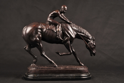 Englisch Bronze Horse Jockey Unterzeichnung Willis Gut