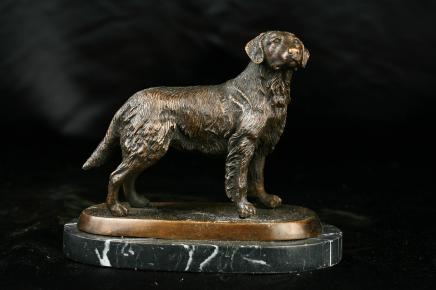 Englisch Bronze Statue Hund Golden Retriever