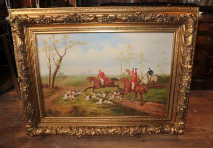 Englisch Fox Hunt Oil Painting Szene Pferde Jocked Viktorianische Kunst