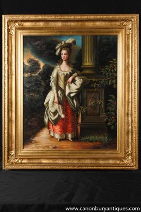Englisch Georgian Ölmalerei Classic Lady Aristocrat