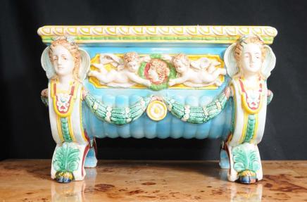 Englisch Majolika Keramik-Engel-Blumenkasten