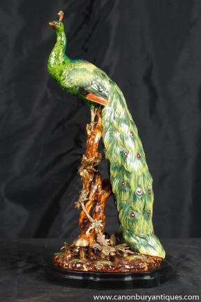 Englisch Majolika Porzellan Pfau-Vogel Figur Statue Keramik
