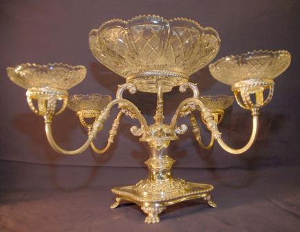 Englisch Sheffield Silvertafelaufsatz Kristallglas Geschirr