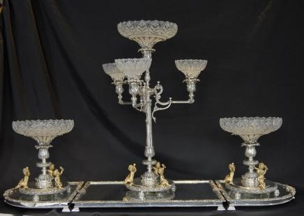 Englisch Silver Plate Boulton Tafelaufsatz Tafelaufsatz Glasbehälter-Dish