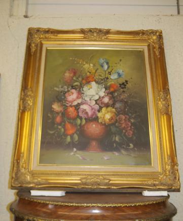 Französisch-Ölgemälde Blumen-Stillleben Blumen