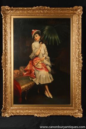 Französisch Art Deco Ölmalerei Maiden Gilt Frame