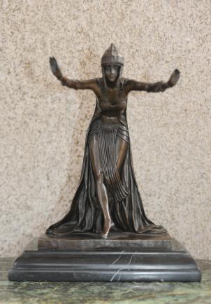 Französisch Art Deco Tänzerin Bronze-Statue von Colinet