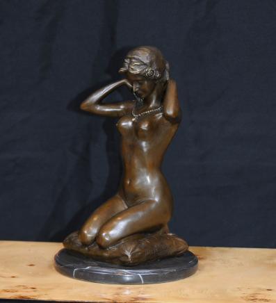 Französisch Bronze Weiblicher Akt Figur Statue Nackte Dame Erotische Kunst
