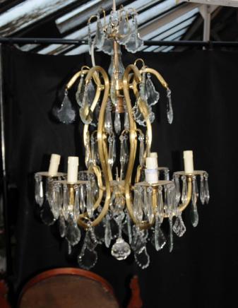 Französisch Jugendstil-Kronleuchter Ormolu Licht Lampen Kristallglas