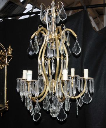 Französisch Jugendstil-Leuchter-Licht-Lampe Ormolu Cut Kristallglas