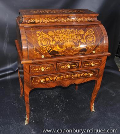 Französisch Louis XV Roll Top Schreibtisch Büro Schreibtisch Inlay MöbelFranzösisch Louis XV Roll Top Schreibtisch Büro Schreibtisch Inlay Möbel