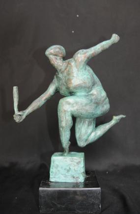 Französisch Modernist Grün Rodin Statue Bronze