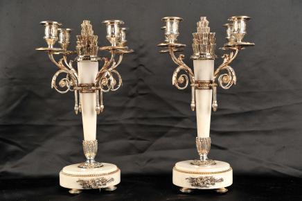 Französisch Reich Silver Plate Kerzenleuchter Kerzenständer