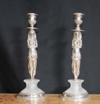 Französisch Reich Silver Plate Pharo Kerzenhalter Kerzen