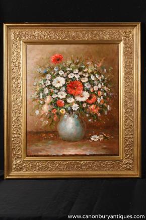 Französisch impressionistischen Blumenspray-Stillleben-Ölgemälde-Kunst Gilt Frame Unterzeichnung