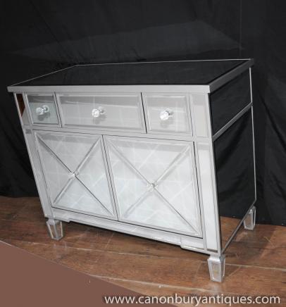 Gespiegelt Kommode Schubladen Schrank Art Deco Möbel Spiegel