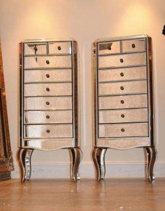 Mirrored pair of dressers chest of drawers Tall Boy