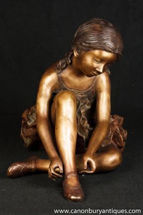 Große Französisch Bronze Ballerina-Mädchen-Statue Figurine Degas