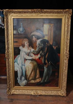 Große niederländische Ölgemälde Romantische Paar-Portrait Gilt Frame