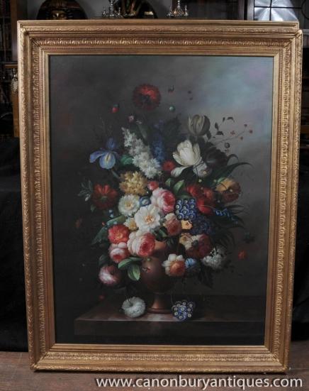 Große niederländische Blumenölgemälde Stillleben Blumen Gilt Frame