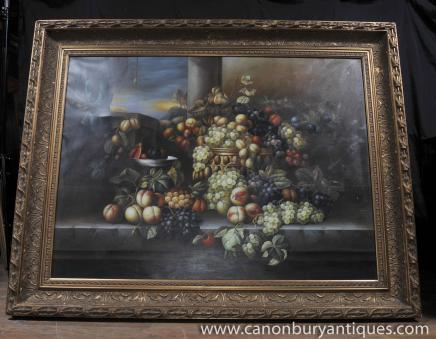 Große viktorianische Ölgemälde Blumen-Stillleben Gilt Frame