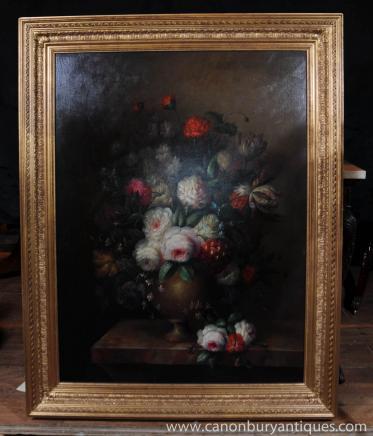 Große viktorianische Blumenölgemälde Stillleben Gilt Frame