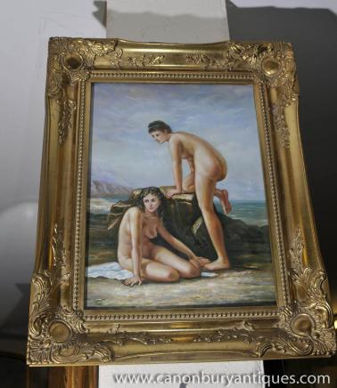 Italienisch Ölgemälde Pair Nude Female Portraits Gilt Frame