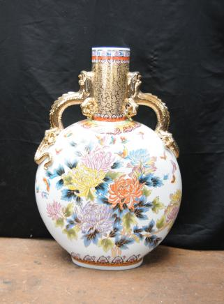 Japanische Satsuma Urne Medaillon Porzellan-Keramik-Vase