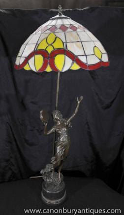 Jugendstil Bronze Figur Tiffany-Lampe Tischleuchte Statue
