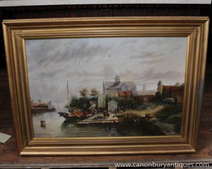 Niederländischen Ölgemälde Landschaft Boot Rustikale Szene Gilt Frame Unterzeichnung