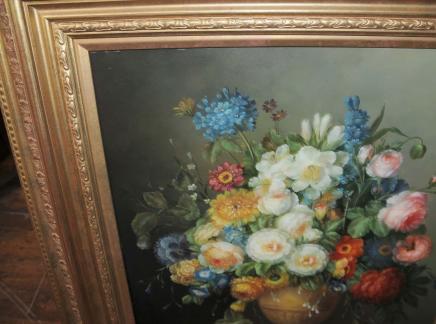Niederländischen Stillleben-Ölgemälde-Blumenvasen Gilt Frame