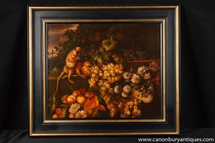 Niederländischen Stillleben-Ölgemälde-Trauben-Affe-Kunst-Rahmen signiert