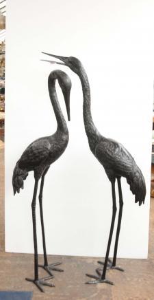 Paar 5 ft Bronze japanischen Störche Flamingo Stork