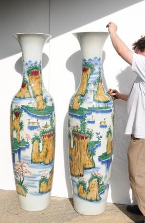 Paar 6ft japanische Keramik, Porzellan-Vasen bereut Urnen