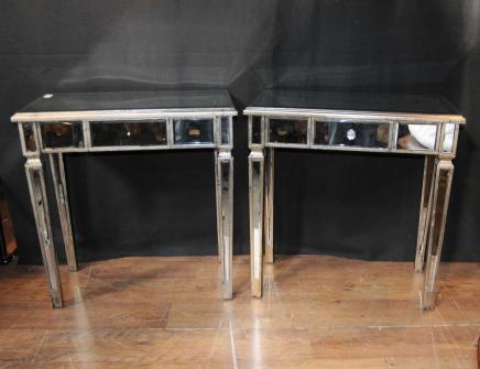 Paar Art Deco Spiegel Beistelltische Gespiegelte Beistelltisch Möbel