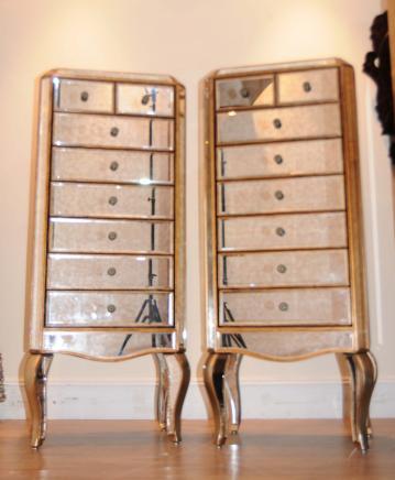 Paar Art Deco Spiegel Kommoden Hoch Jungen Mirrored