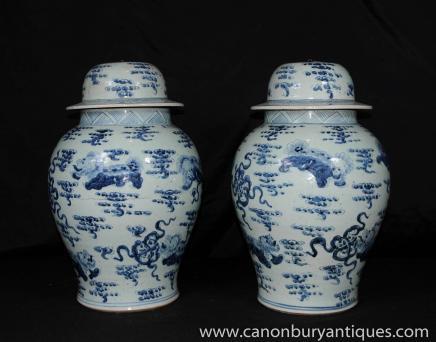 Paar Blau Weiß chinesischen Porzellanvasen Deckel Urnen Nanking Pottery