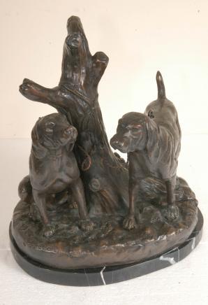 Paar Bronze Hounds Hunde Unterzeichnung Johnson