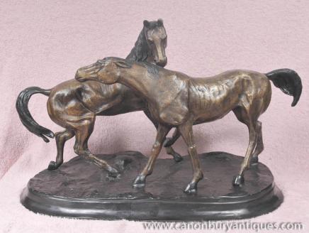 Paar Bronze Pferde durch PJ Mene Pony Pferd Reiterstatue