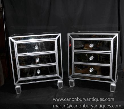 Paar Deco Gespiegelte Nachtschränke Nachttische Spiegel Möbel