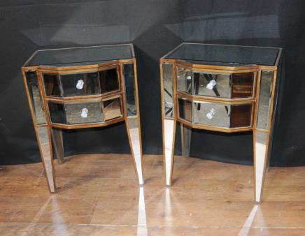 Paar Deco Spiegel Nachtschränke Nachttische Kommoden Mirrored