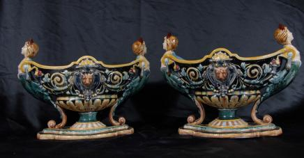 Paar Englisch Majolika Keramik Pflanz Urnen Porzellan