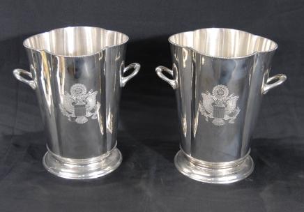 Paar Englisch viktorianischen Silver Champagner Wein Eimer EPNs