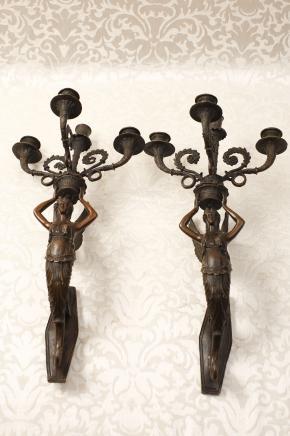 Paar Französisch Bronze Reich Lampen Wandleuchten Applikationen
