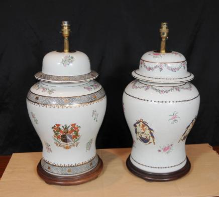 Paar Französisch Porzellan Tischleuchten Leuchten Handgemalte